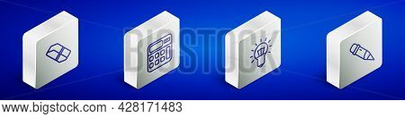 Set Isometric Line Eraser Or Rubber, Calculator, Light Bulb And Pencil With Eraser Icon. Vector