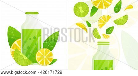 Fresh Fruit Juice Or Cocktail Or Smoothie. Bright Vector Illustration Of Closed Bottle Of Juice With