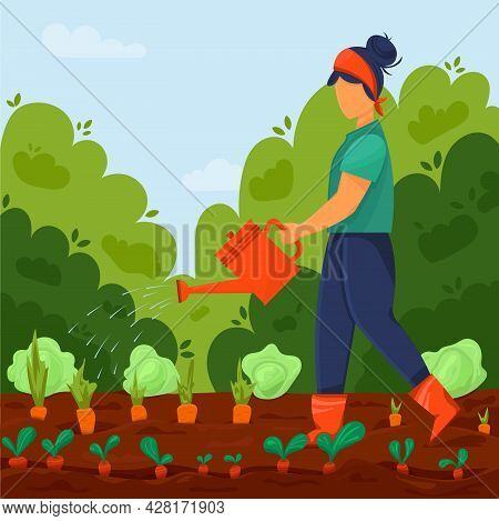 Local Organic Products Are Grown. Girl With Watering Pot Waters Vegetables In Garden Bed. Agricultur