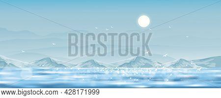 Blue Sky And Sun, Horizon Natural Sky Scape, Blue Ocean, Mountain And Clear Sky With Bokeh Reflectio