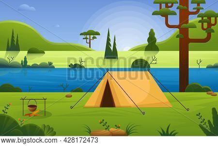 Camping Site On River Beach In Forest. Forest Landscape With Tent. Tourism Expedition Travel Explore