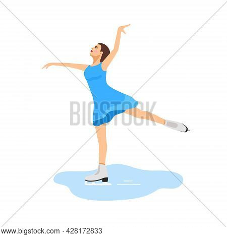 Figure Skating In A Blue Dress. The Girl Is Engaged In Figure Skating. Winter Sport. Vector Illustra