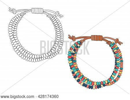 Bracelethandmade Jewelry In An Ethnic Style: A Bracelet Made Of Multicolored Beads On A Leather Stra