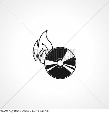 Burning A Disk Icon. Cd Burn Simple Vector Icon. Cd Burn Isolated Icon.