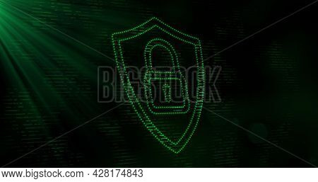 Image of digital computer interface online security green padlock icon on glowing background. Global computer network and online security concept digitally generated image.