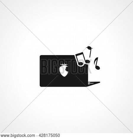 Music On Computer Icon. Music On Computer Simple Vector Icon. Music On Computer Isolated Icon.
