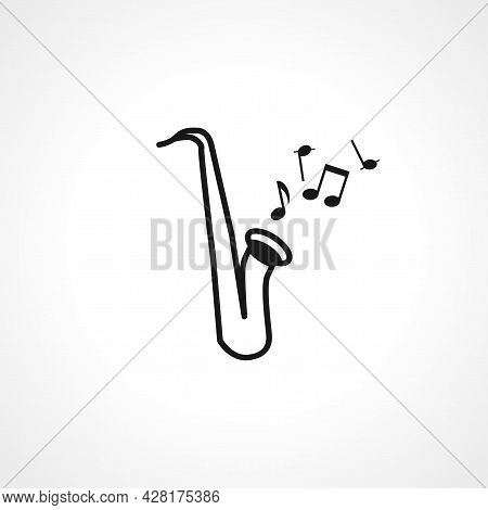 Saxophone Icon. Saxophone Simple Vector Icon. Saxophone Isolated Icon.
