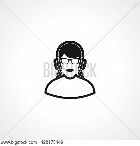 Girl In Headphones Listening To Music Icon. Listening To Music Simple Vector Icon. Listening To Musi