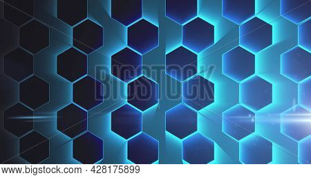 Image of network of interconnected glowing blue hexagons. global network of connections technology concept digitally generated image.
