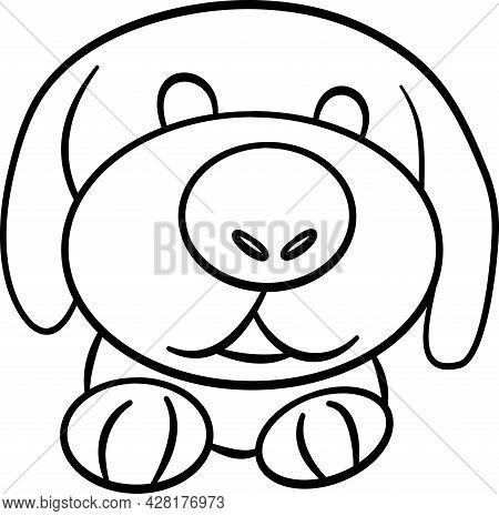 Cute Animal Comics Vector On White Background. Cute Dog,  Animal For Kids Concept. In Cute Form Flas