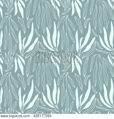 Minimalist Abstract Floral Seamless Pattern With White Palm Branch And Leaves Doodles On White Backg