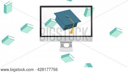 Image of school items icons moving on white background. school, education and study concept digitally generated image.