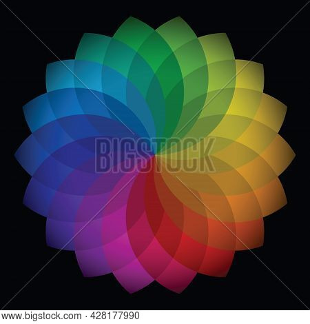 Colorful Flower Patterns. Mandala Shape, Rainbow Tone. Gradient Color Theory. Design Elements For Pu