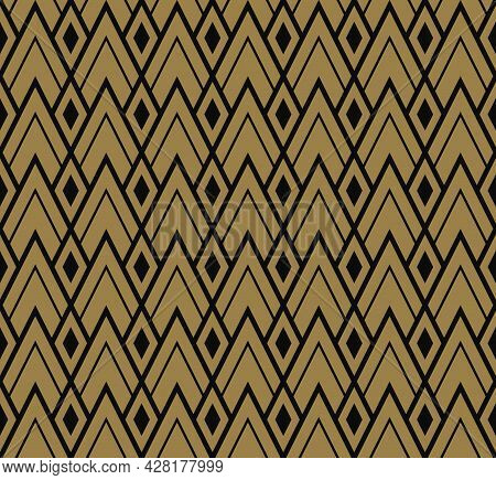 Geometric Background Pattern Seamless. Diamond Shape Black Gold Color. Surface Design For Apparel, T
