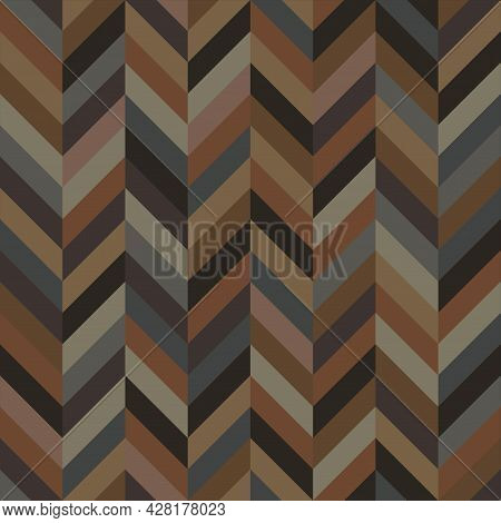 Seamless Zigzag Geometric Pattern. Abstract Background With Chevron Shape. Retro Beige Tone. Texture