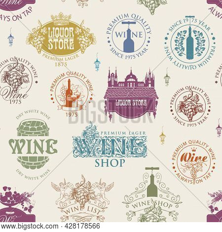 Seamless Pattern With Wine Labels, Logos, Signs On A Light Background In Retro Style. Colored Vector