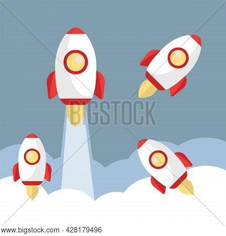 Rocket Launch Vector. Space Travel On Rocket. Rocketship Booster And Cosmos Spaceship Vector Cartoon