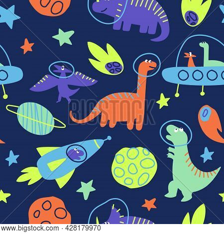 Seamless Pattern Of Dinosaurs Traveling In Space. Dino Traveling The Galaxy With Stars, Planets. Chi