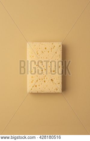 Eco Friendly Sponge. Zero Waste Concept. Top View On Beige Background. Household Cleaning Sponges Fo