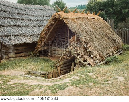 Traditional Medieval Wooden Buildings At Archaeological Heritage Village Near Velehrad Monastery, Mo