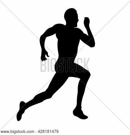 Male Athlete Running Sprint Race Black Silhouette