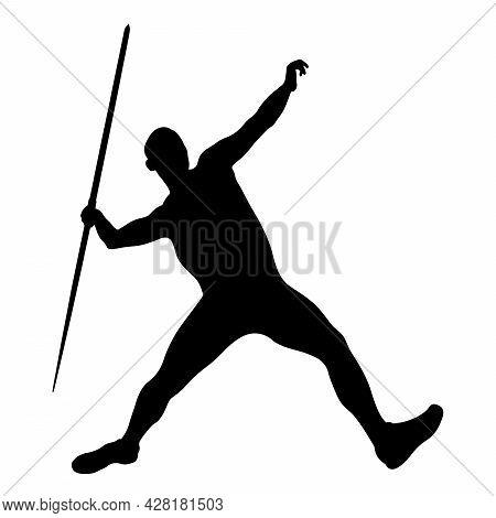 Javelin Throw Male Athlete In Black Silhouette