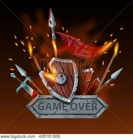 Game Over Vector Background, Computer Arcade Final Defeat Illustration, Stone Sign, Wooden Shield, F