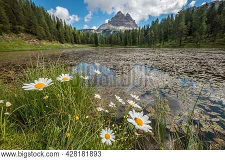 Beautiful Early Morning Dolomites Alps Mountain Landscape Photo. Giau Pass Or Passo Di Giau - 2236m