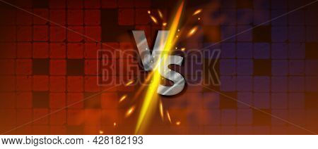 Vs Game Background, Versus Battle Fight Vector Banner, Fire Splash, Yellow Sparks, Silver Letters. S