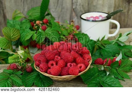 Fresh Organic Fruits - Raspberries On A Wood Background Selective Focus. In The Background, Out Of F