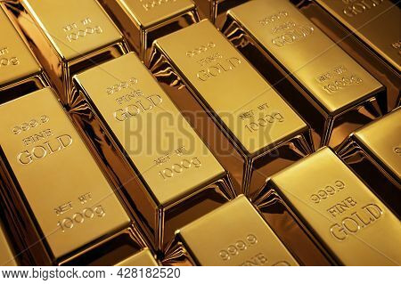 Gold Bars Background, Investment Concept With Copy Space
