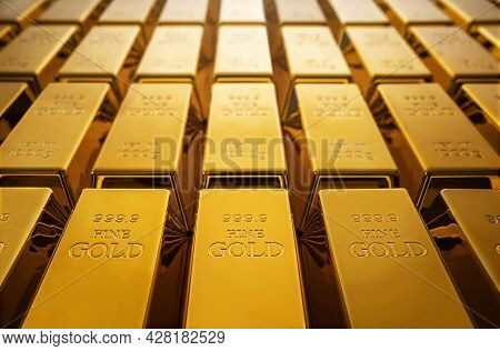 Pile Of Gold Bars Background With Copy Space
