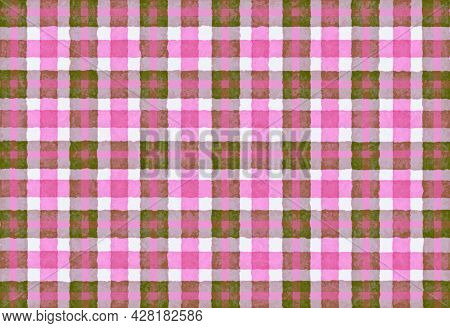 Pink Olive Green Checkered Old Vintage Background With Blur, Gradient And Grunge Texture. Classic Ch