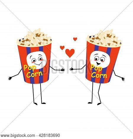 Cute Popcorn Character In A Holiday Box With Love Emotions, Smile Face, Arms And Legs. Funny Snack F