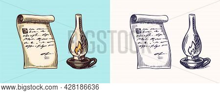 A Hand-written Letter Letter On Paper And Kerosene Or Paraffin Lamp In Vintage Engraved Style. Messa
