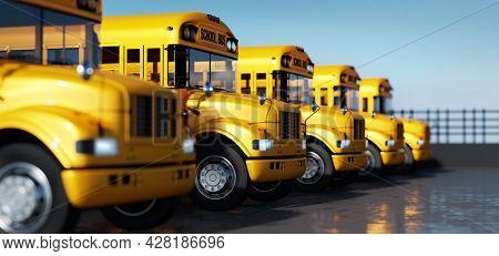 Yellow school bus fleet on parking. Back to school 3D illustration