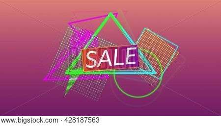 Image of the word Sale in white capital letters and colourful outline and mesh shapes tumbling into position in the foreground, against a gradient dark pink background 4k