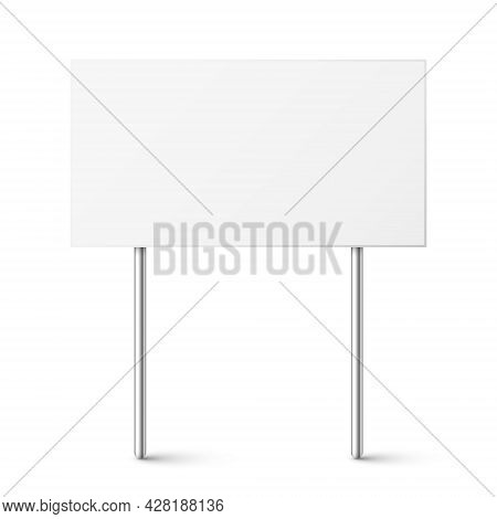 Blank Board With Place For Text, Protest Sign Isolated On White Background. Realistic Demonstration