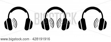 Vector Headphones Icon. Black Symbol Silhouette Isolated On Modern Gradient Background. Check The So