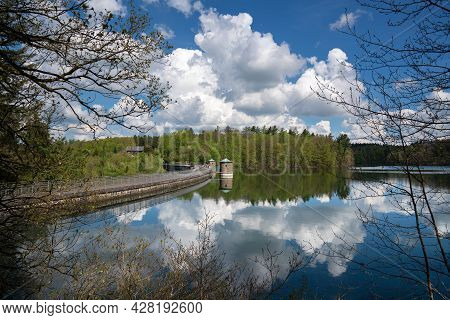 Panoramic Image Of Neye Reservoir With Clouds At Springtime, Wipperfurth, Bergisches Land, Germany