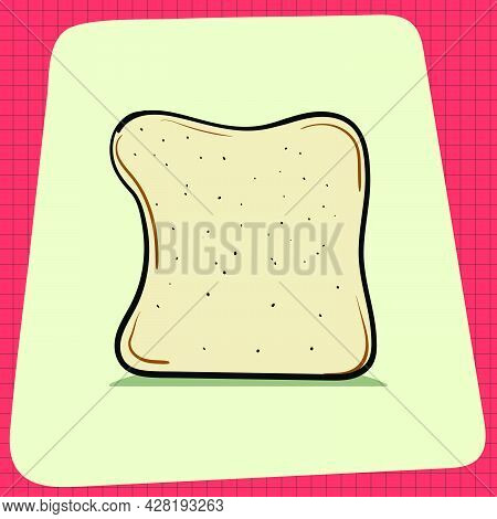 Slice Of Bread Loaf With Shadow. Everyday Household Breakfast Items. Food Icons For Menu Design. Vec