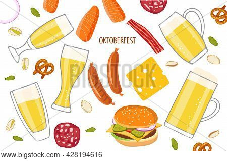 Oktoberfest Set. Vector Different Beer Mugs And Snacks, Bavarian Sausages, Pretzel, Cheese, Bacon, P