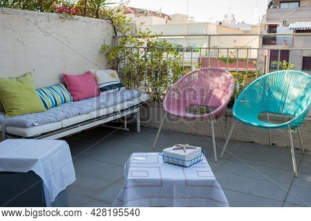 Beautiful Terrace Ready For The Guests. Meeting Point For Friends In An Apartment At Madrid, Spain,