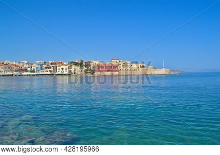 View From The Embankment To The Old Town In Chania, Crete In Greece