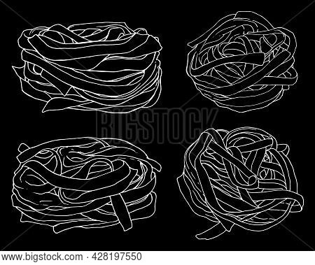 Vector Set Of Fettuccine Pasta Noodles. Hand-drawn In Sketch Style-contour White Isolated Set Of Ele
