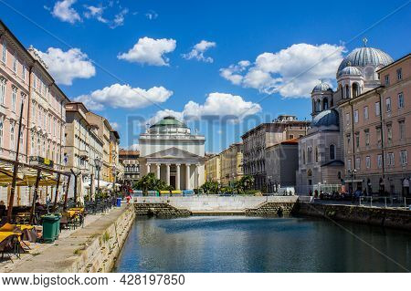 Trieste, Italy - July 16, 2017: View Of Canal Grande In Trieste City Centre On A Sunny Day