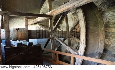 View Of The Well Of Boskovice Castle With A Hand Winch