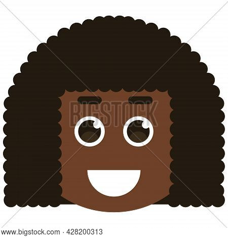 Avatar Face Of Black Smiling Woman. African Woman Avatar. Vector Illustration. Female Cartoon Icons.