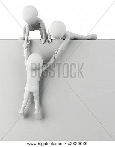 3D Small People Help To Get Up.