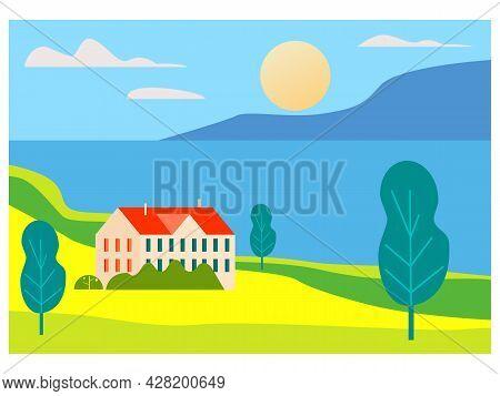Rural Spring, Summer Landscape Field, Hills, Coast Ocean, Sea, Mountaine, Horizon. Countryside Natur